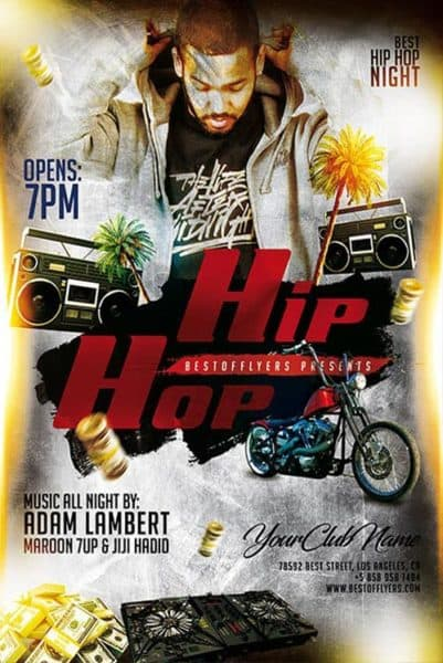 Hip Hop Night Free Poster Template
