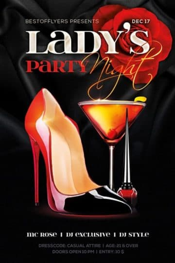 Ladys Night Free Party Flyer Template