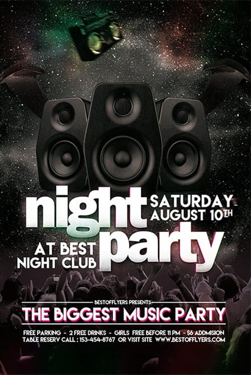 Freepsdflyer Party Night Free Club Flyer Template For Club And