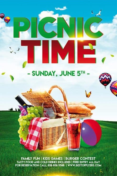 Picnic Time Free Poster Template For Community Picnic Events