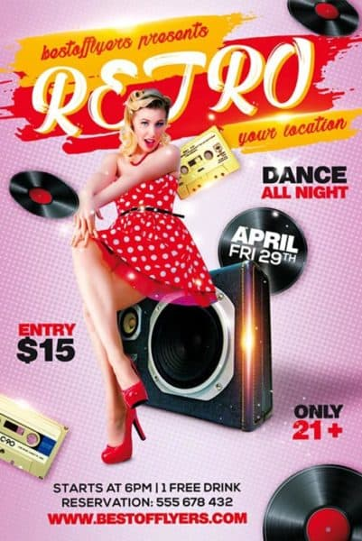Retro Party Free Flyer Template
