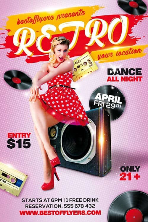 Free psd flyer templates to download for photoshop retro party free flyer template saigontimesfo