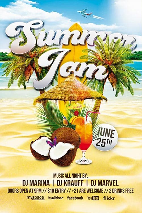 Summer Jam Party Free Flyer Template