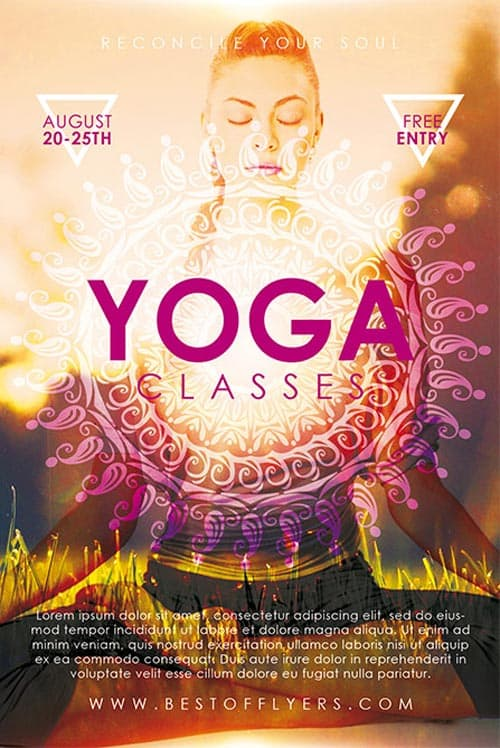 Yoga Classes Free Poster Template For Yoga Lessons And Gym Fitness