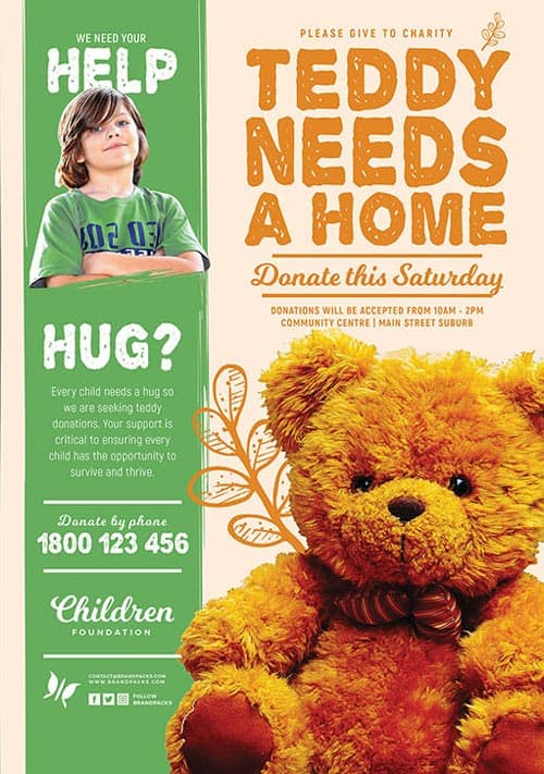 free children charity flyer templates for photoshop and illustrator