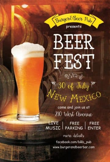 Beer Fest Free Pub Flyer Template
