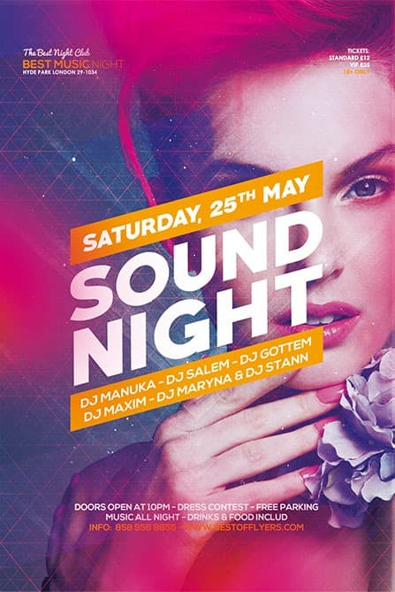Freepsdflyer  Sound Night Party Free Flyer Template For Edm And Dj