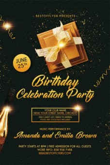Attractive Birthday Celebration Free Flyer And Poster Template