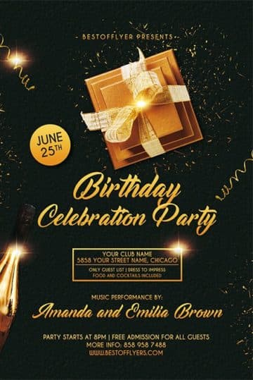 Birthday Celebration Free Flyer and Poster Template