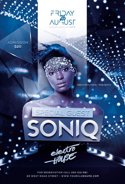 Freepsdflyer Download Dj Soniq Electro House Free Flyer Template