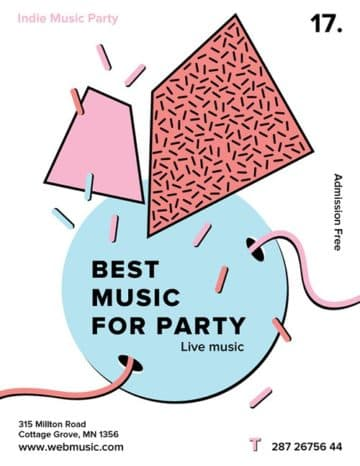 Indie Music Party Free Flyer and Poster Template