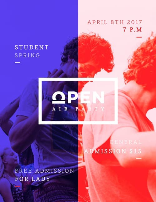 Open Party Free Flyer and Poster Template