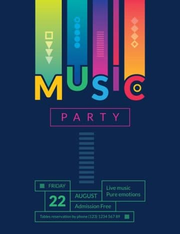 Summer Music Party Free Flyer and Poster Template