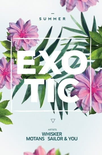 Exotic Flowers Party Free Flyer Template