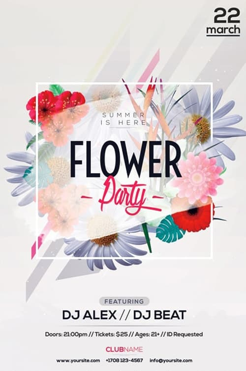 Flower Party Free Flyer Template