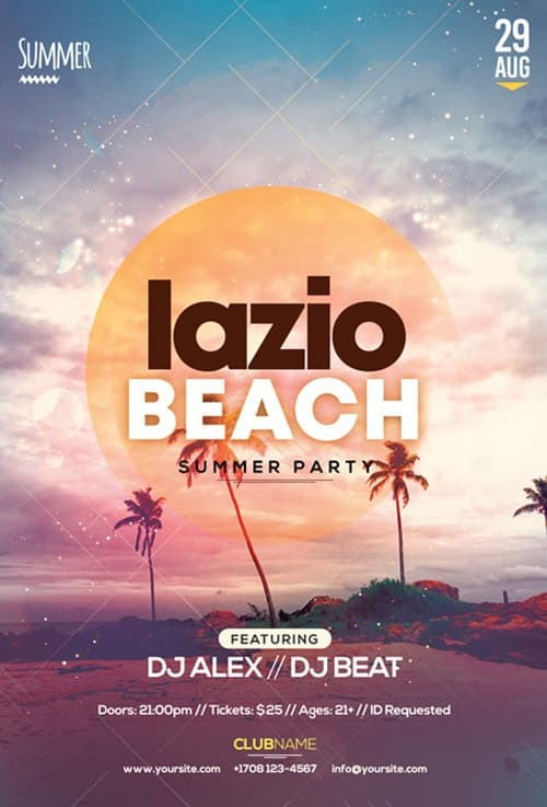 Lazio Beach Party Free Flyer Template