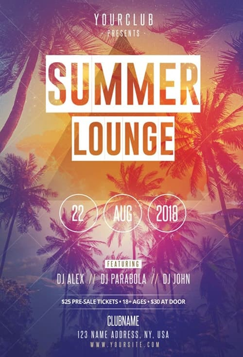 Summer Lounge Free Flyer Template