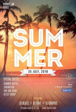 Beach Summer Party Free PSD Flyer Template