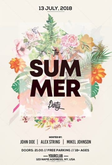 Floral Summer Party Free Flyer Template