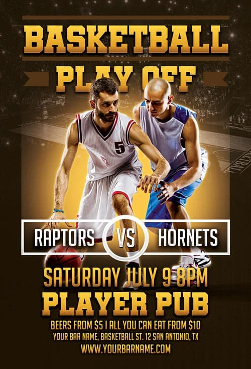 Basketball Playoffs Free Flyer Template