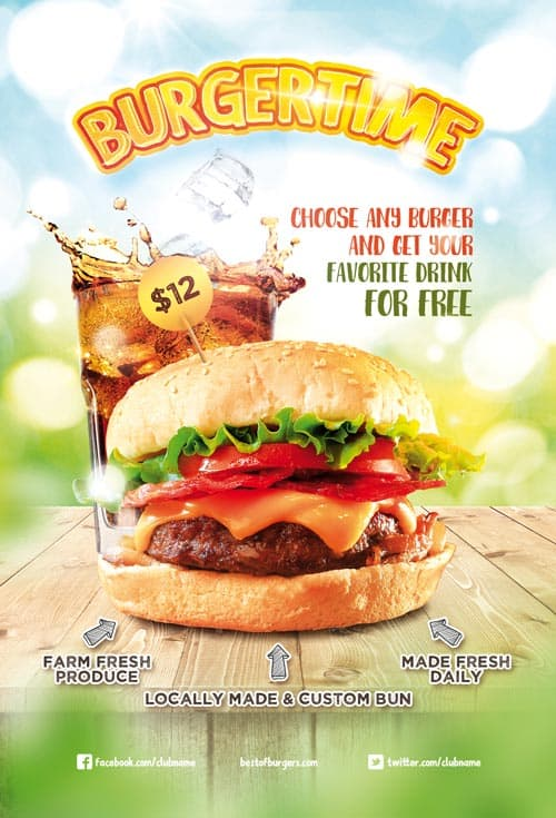 Burger Time Free Flyer and Poster Template