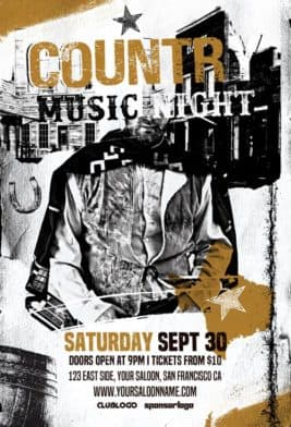 Country Music Night Free Flyer Template