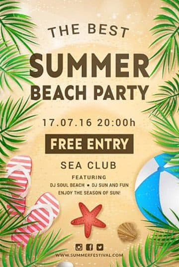Beach and Sea Party Free Flyer Template