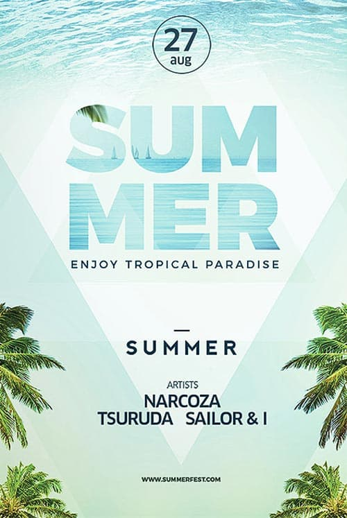 Summer Electro Dance Party Free Flyer Template