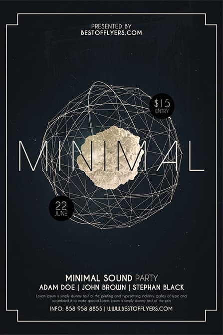 Minimal Party Free Flyer and Poster Template