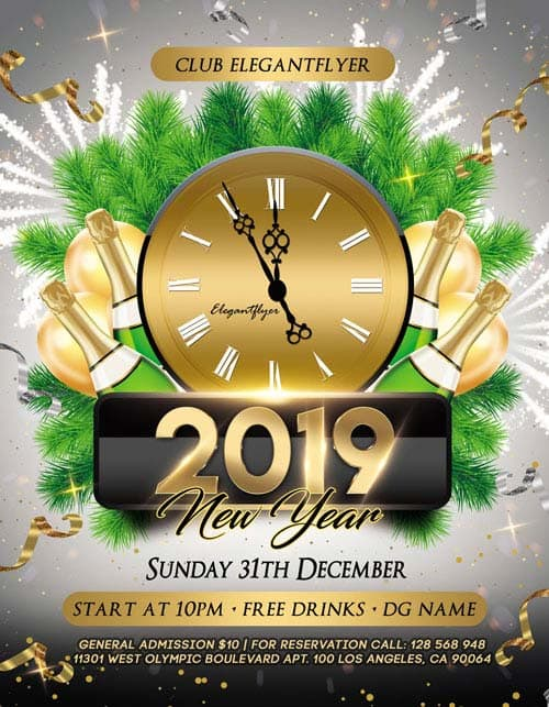 New Year Free Flyer PSD Template and Instagram Template