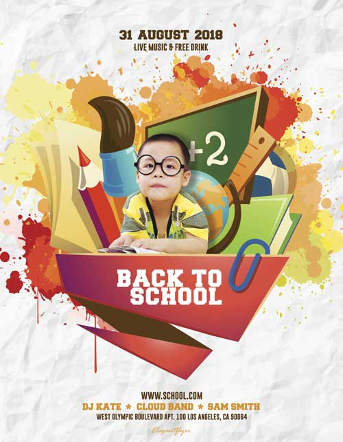 Back to School Event Free PSD Flyer Template