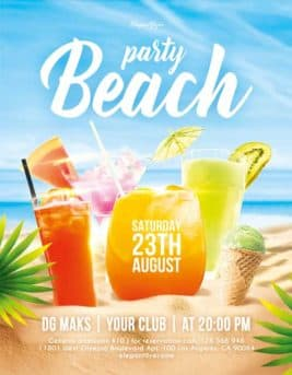 Beach Party Cocktail Event Free PSD Flyer Template