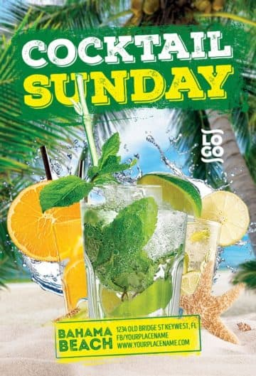 Summer Cocktail Sunday Free Flyer Template