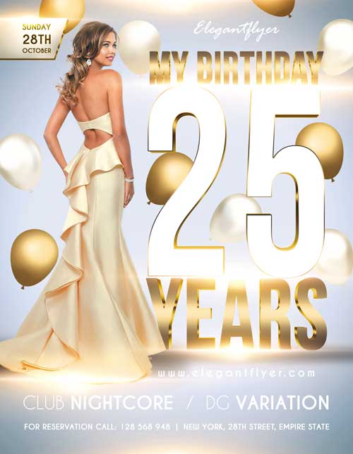 25th Birthday Party Free PSD Flyer Template