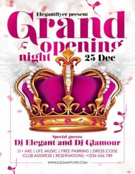 Grand Opening Night Party Free PSD Flyer Template