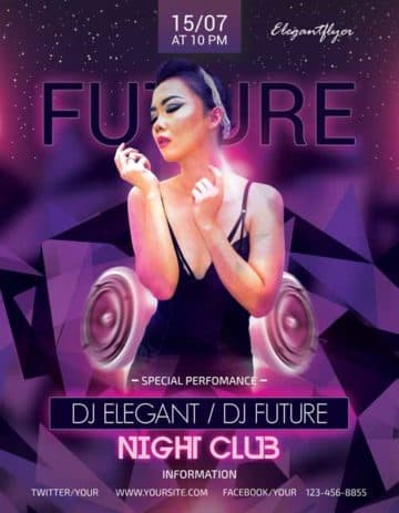 Future Party Free Flyer PSD Template