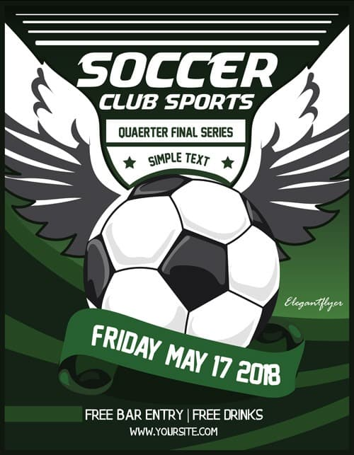 Soccer Club Free PSD Flyer Template