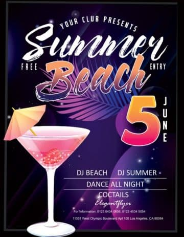 Summer Beach Cocktail Party Free PSD Flyer Template
