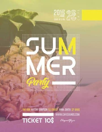 Summer Electro Party Free PSD Flyer Template
