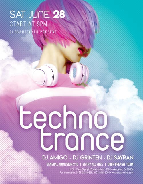 Techno Trance Party Free Flyer PSD Template