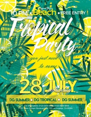 Tropical Party Event Free PSD Flyer Template