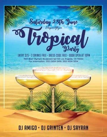 Tropical Cocktail Party Event Free PSD Flyer Template