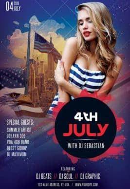 4th of July Club Party Free Flyer Template