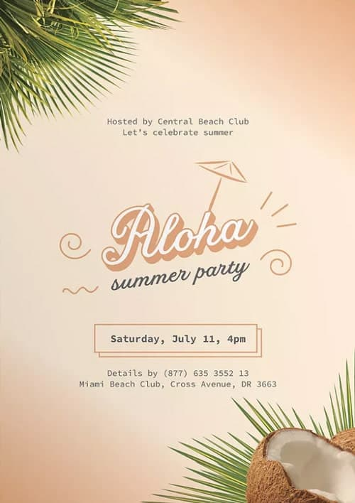 Aloha Summer Party Free Flyer and Poster Template