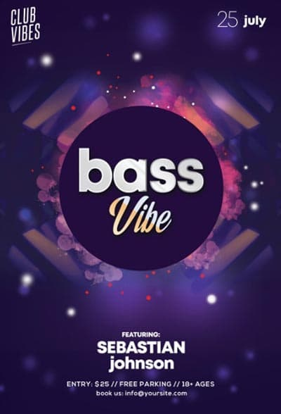 Bass Vibe Electro Party Free Flyer Template