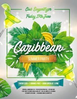 Caribbean Summer Party Free PSD Flyer Template