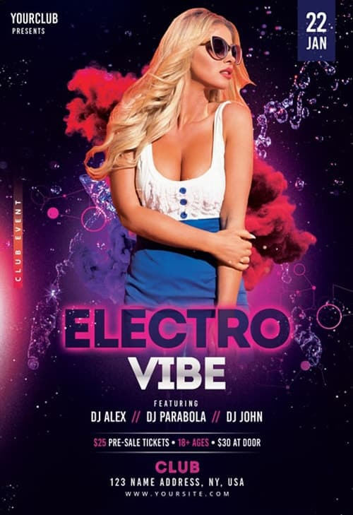 Electro Vibe Free Flyer Template for Electro DJ Party and Club Events