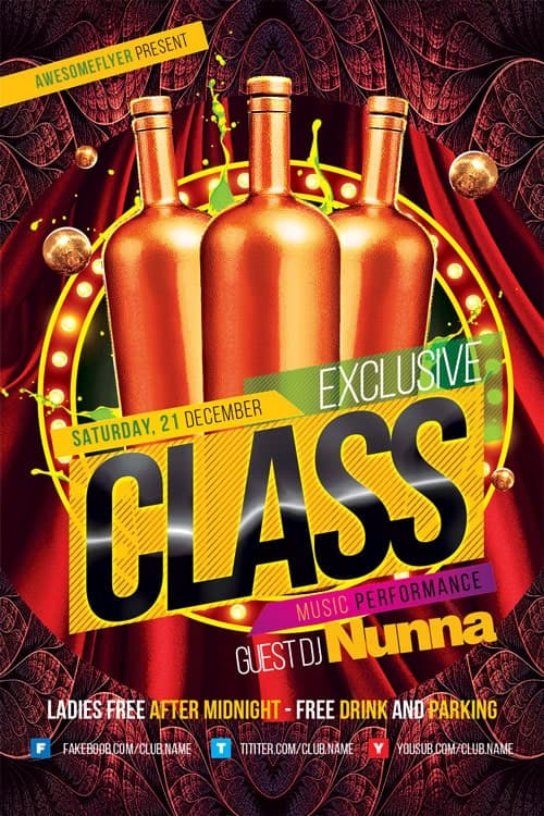 Exclusive Class Club Free Flyer Template for elegant Clubs and Parties!