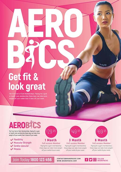 Free Aerobic Poster and Flyer Template