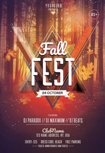 Fall Fest Party Free Flyer Template